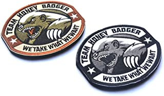 Embroidered Patch 2 PCS Team Honey Badger DIY Applique Embroidered Sew Iron On Patch for Jeans Jacket Clothing Handbag Shoes Caps Sewing Flowers Applique DIY Accessory