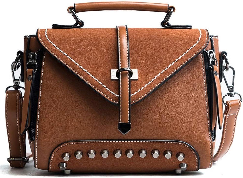 Women's Wild Atmospheric Handbag Retro Simple Rivet Shoulder Messenger Bag20xX15X8cm (color   A, Size   20xX15X8cm)