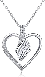 Silver Necklace for Women Heart Pendant Forever Love 5A CZ Dainty Necklace Adjustable Gift for Birthday or Christmas