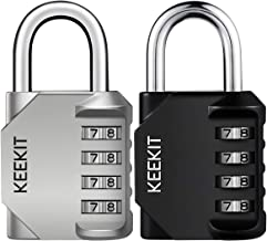 KeeKit Combination Lock [2 Pack] 4 Digit Anti Rust Padlock Set Weatherproof Lock Padlock Gate Lock Gym Lock Locker Lock fo...