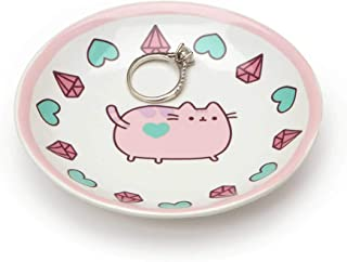 """Pusheen by Our Name is Mud """"Pusheen Pink Trinket Tray"""" Stoneware Dish, 4 Inches"""