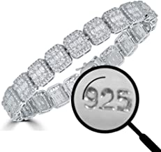 Harlembling Solid 925 Sterling Silver Men's Iced Baguette Bracelet - Heavy 11mm 38.5g - ICY 8.5
