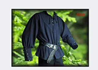 SUXIAO Men Medieval Renaissance Grooms Pirate Reenactment Larp Costume Lacing Up Shirt Bandage Top Middle Age Clothing For Adult 3XL,Blue,XXXL