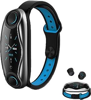 RNNTK Pulsera Inteligente Auriculares Bluetooth Duales Dos En Uno Movimiento Llamadas Bluetooth Smartwatch, Tomar Monitor De Frecuencia Cardíaca Reloj,Aplicar Dama,Hombres,Niños-Azul