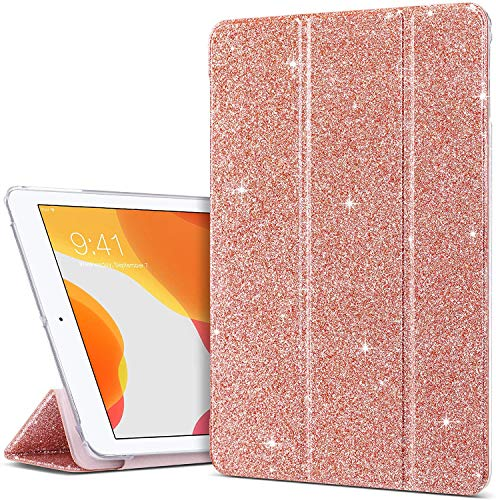 ULAK iPad 9.7 inch 2018/2017 Case, Slim Lightweight Smart Case with Auto Wake & Sleep Function Translucent Stand Cover Case for Apple iPad 9.7 5th/6th Generation - Rose Gold Glitter
