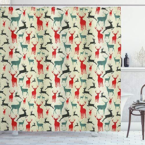 ABAKUHAUS Hirsch Duschvorhang, Holz Winter Tiere, aus Stoff inkl.12 Haken Digitaldruck Farbfest Langhaltig Bakterie Resistent, 175 x 220 cm, Multicolor
