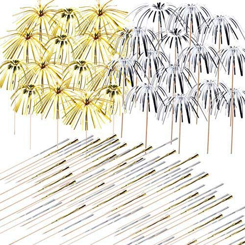 Allazone 200 Stück Cocktail Picks Feuerwerk Party Picks Feuerwerk Kuchen Topper, Sandwich Cocktail Picks, Zahnstocher für Kuchen Dekoration, Party Supplies, Weihnachtsdekoration, Golden und Silber