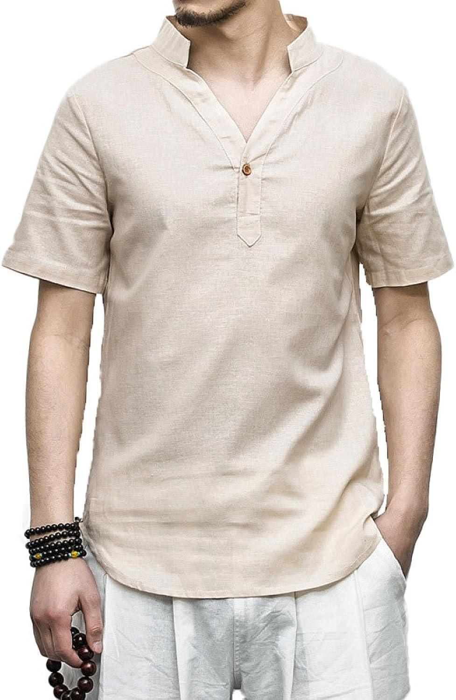 PFSYR Men's Casual Shirts Cotton V-Neck Tops Summer Summer
