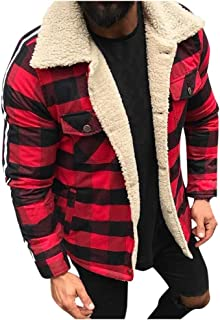 Men's Winter Fashion Faux Leather Jackets Vintage Full Zipper Thick Sherpa Lined Faux Leather...
