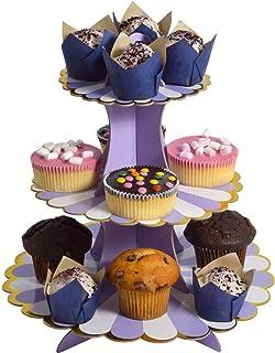 Etagère 3 etages muffin decoratie cupcake standaard karton 3 verdiepingen baby shower taartstandaard kartonnen staander mu...