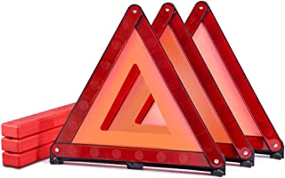 MysBiker Triple Warning Triangle Emergency WarningTriangle Reflector Safety Triangle Kit3-Pack (3 Pack Red)
