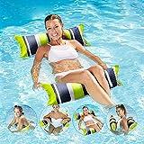 Hamaca flotador de piscina con cama flotante inflable para adultos, silla 4 en 1, silla de salón, hamaca, con malla inferior para piscina, playa, vacaciones en el mar (verde+negro)