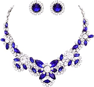 Rosemarie Collections Women's Brilliant Sapphire Blue Crystal Collar Statement Necklace Earrings Jewelry Set