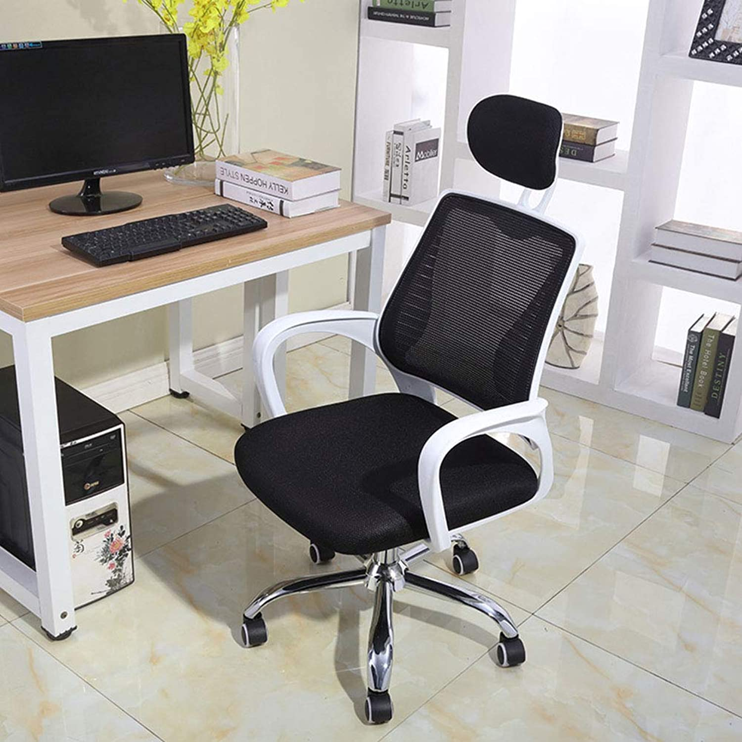 Computer Chair, Staff Study Study Office Swivel Chair Writing Dormitory Armrest Chair Mesh Seat 360 Degree Swivel Adjustable Seat Height Ergonomic Concept Durable and Stable Lever Operator Chairs