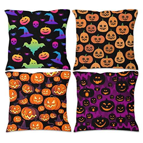 nanjingjin Halloween Pumpkin Cushion Cover Flax Pack of 4 Soft for Bedroom Modern Style Cushion Insert White 45 x 45 cm