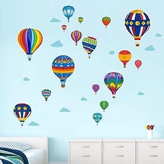 Runtoo Pegatinas de Pared Globo Aerostático Stickers Adhesivos Vinilo Arco Iris Decorativas Infantiles Habitacion Bebe