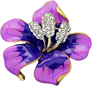 Bullidea Metal Pin Badge Brooch Rhinestone Colorful Lily Christmas Festive Brooch Pin Corsage