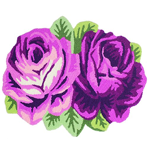 TideTex Fashion Floral Purple Area Rug Pretty 2 Rose Flower Girl Bedroom Bedside Footmat Home Non-slip Bathroom Rugs Decoration Durable Door Mats (2'2x1'9, Purple)