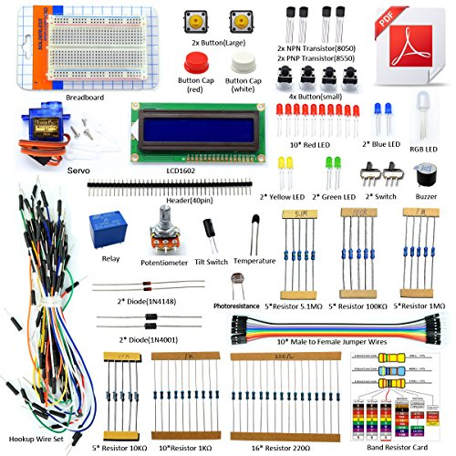 Adeept Project 1602 LCD Starter Kit Compatible with Arduino IDE Mega2560 Nano Servo Relay LCD1602, Starter Kit with PDF Guidebook and Code