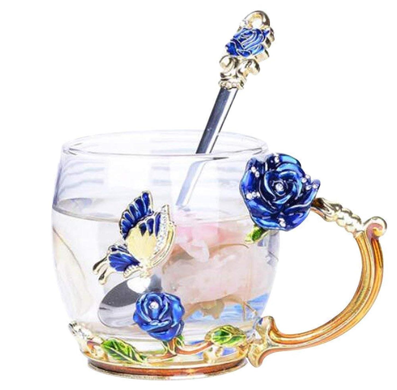 教師の日量でミサイルYBK Tech 上品 フラワーグラスマグ ティーカップ 耐熱ガラス クリスタル ラスティーカップ ハンドル付き ホットビバレッジ、アイスティー、ース 姉妹、ママ、おばあちゃん、教師に最適なギフト- 青い蝶と青いバラ (短い (320ml) ギフトボックス付き)