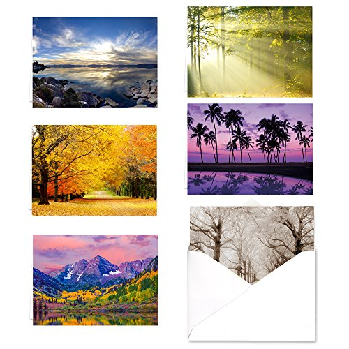 Breathtaking Landscape Note Card Assortment Pack   Set Of 36 Greeting Cards With White Envelopes   6 Scenery Designs