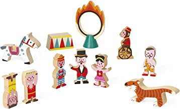 Janod Mini Story Box Toy - 11 Piece Imagination and Shape Stacking Game - Circus Painted Wooden Block Set for Imaginative Play for Ages 3+