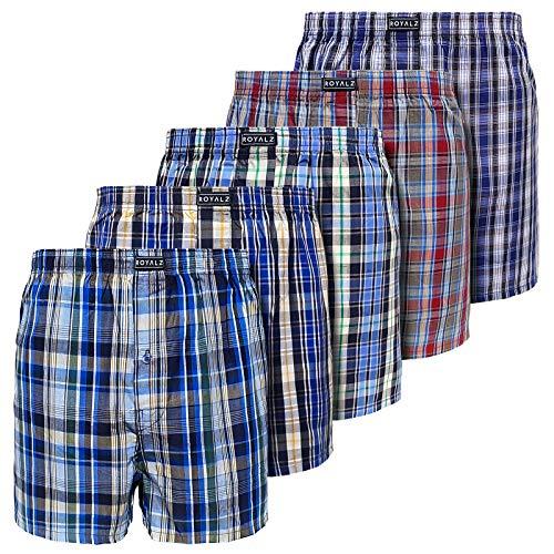 ROYALZ Baumwoll Boxershorts Herren Kariert 5er Pack hoch geschnitten Männer Unterhosen 100% Braumwollle, Farbe:Set 061 (5er Pack - Mehrfarbig), Größe:XL