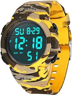 MJSCPHBJK - Reloj deportivo digital para hombre, pantalla LED, resistente al agua, reloj militar de gran cara y resistente electrónico simple con alarma, cronómetro, luz nocturna luminosa, color negro