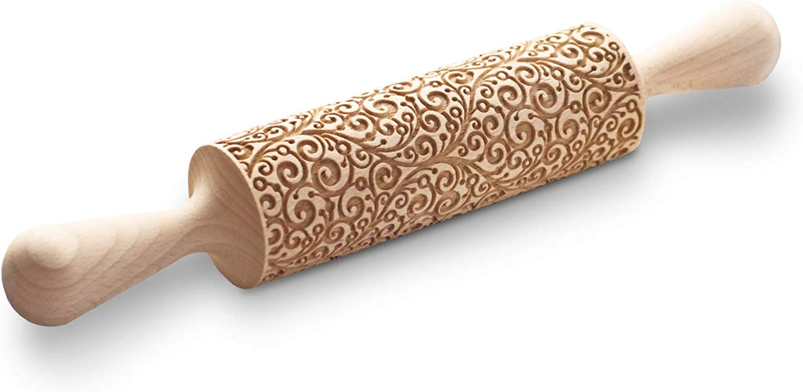 Rolling Pin With Curly 3D Pattern Cookie Stamp With Swirls Floral Imprint Utensil Twirly Flower Motive Embossing Roller