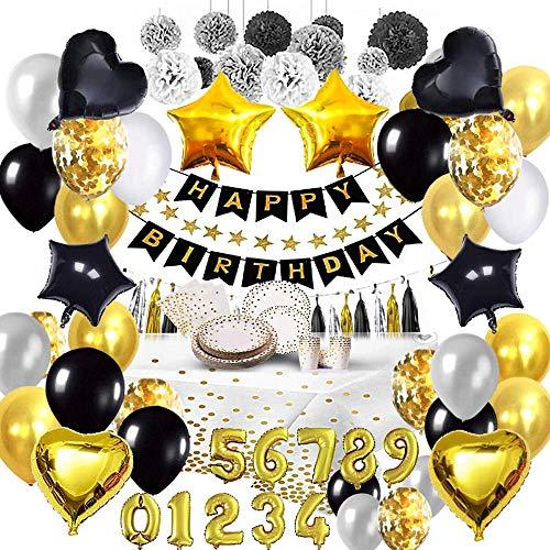 Bea's Party Decoration Anniversaire Noir et Or Adulte Homme Femme banniere Joyeux Anniversaire Banderole Set de Table Serviettes Papier Nappe Assiette jetable Ballons Anniversaire 18 30 40 50 80 Ans