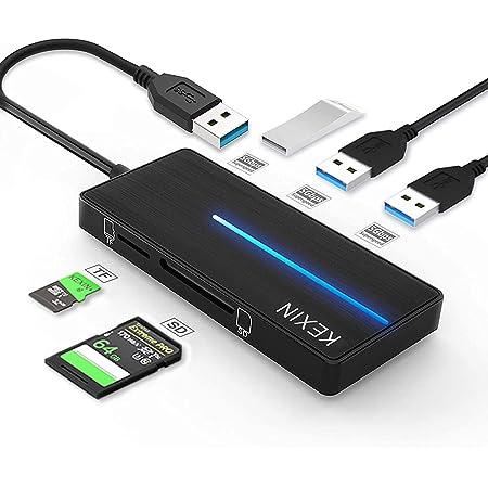 KEXIN Hub USB 3.0 con 3 Puertos USB 3.0 y Lector de Tarjetas SD y TF, Ultra Fino Hub USB [5 en 1] Compatible con Notebook/Laptop/Ultrabook/Tabletas/Macbook