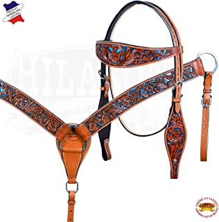 HILASON Western Horse Breast Collar Headstall Set American Leather Brown