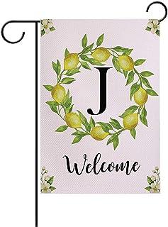 7ColorRoom Welcome Garden Flags مزدوجة الجوانب أعلام الحديقة رسالة J/Lemons إكليل مزرعة ساحة الديكور الخارجي حديقة صغيرة ا...