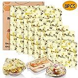 Tonsooze Emballage Cire d'abeille, Emballage Alimentaire Rutilisable et cologique Emballages en Coton Biologique, Sacs alimentaires pour Sandwichs, Fromage, Fruits, Pain, Collations (8 Pcs)