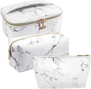 SODIAL 3 Pack Marble Makeup Bag Set Portable Toiletry Pouch Bag Waterproof Organizer Case Storage Makeup Brushes Bag for Women Girls