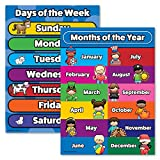 Days of The Week & Months of The Year Poster Chart Set - Laminated - Double Sided (18x24)