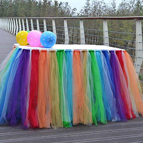 Yunhigh Tutu Tüll Tisch Röcke für Rechteck & runde Tische Baby Dusche Dekoration Tischdecke Tuch für Geburtstag Hochzeit Weihnachtsfeiern Dekor-Regenbogen / mehrfarbig