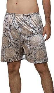 GAGA Men Summer Satin Boxers Silk Sleepwear Underwear Shorts