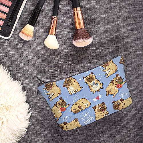Cosmetic Bag for Women,Loomiloo Adorable Roomy Makeup Bag Travel Waterproof Toiletry Bag Accessories Organizer (Flower Pug 51491)