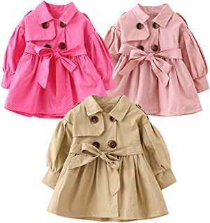 Boys Girls Windproof Trench Coat 0-5 Years Old 🎅 Fashion Double Breasted Solid with Belt Slim Overcoat Jacket