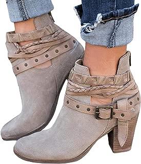 Ermonn Womens Ankle Boots Rivet Buckle Strap Chunky Heel Back Zipper Vintage Western Boots
