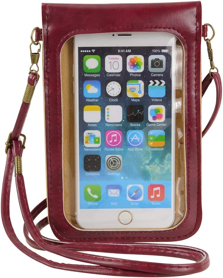 Touch Screen Cell Phone Purse Wallet Cute Small PU Leather Crossbody Bag for iPhone 11 XR XS Max 8 Plus 7 Plus, Galaxy Note10 A20 S10 Plus S9 Google Pixel 3a Xiaomi Mi 9T Redmi Note 6 Pro (Red)