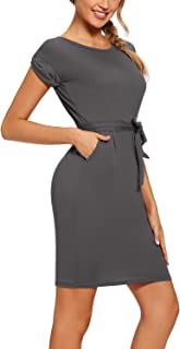 SEVEGO Women's Floral Swing Flared Summer Midi Dress Striped T-Shirt Dress with Pockets Casual Belt Tie Waist Tunic Dress