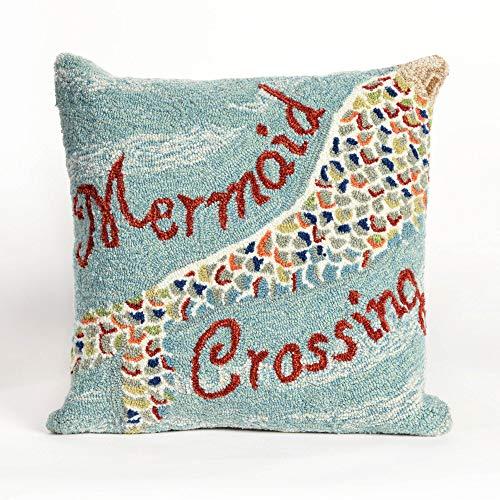 Liora Manne Front Porch Coastal Mermaid Crossing Decorative Square Throw Pillow (18