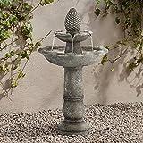 "John Timberland Pineapple Garden Italian Outdoor Floor Water Fountain 35"" High 2 Tiered Bird Bath for Yard Patio Home Deck"
