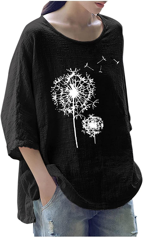 Women's Cotton Linen Shirts Casual Loose Button Down Blouse Tops Plus Size O-Neck 3/4 Sleeve Tunics