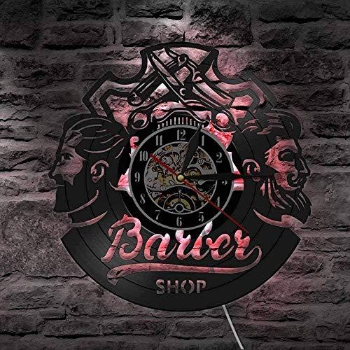 mbbvv Barber Shop Orologi da Parete con Dischi in Vinile Accessori per Capelli Parrucchiere da Uomo Logo Aziendale Orologi Art Deco da Parete