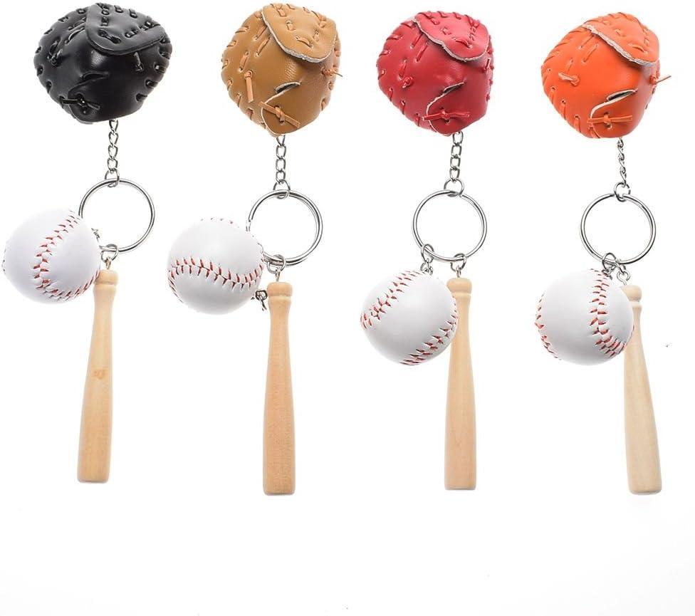 ISKYBOB 4 Pack Mini Baseball Bat Glove Shaped Keychain Creative Keyring Pendant Gift