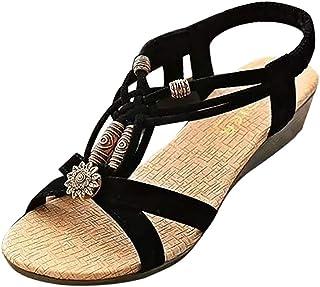 Lloopyting Chanclas Planas para Mujer, Color sólido, Casuales, Bohemias, Puntera Abierta, Cabeza Redonda, Zapatos de jardín