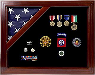 Military Award Shadow Box with Display Case for 3 x 5ft Flag - Felt in Black, Blue, or Red (Black Selected)
